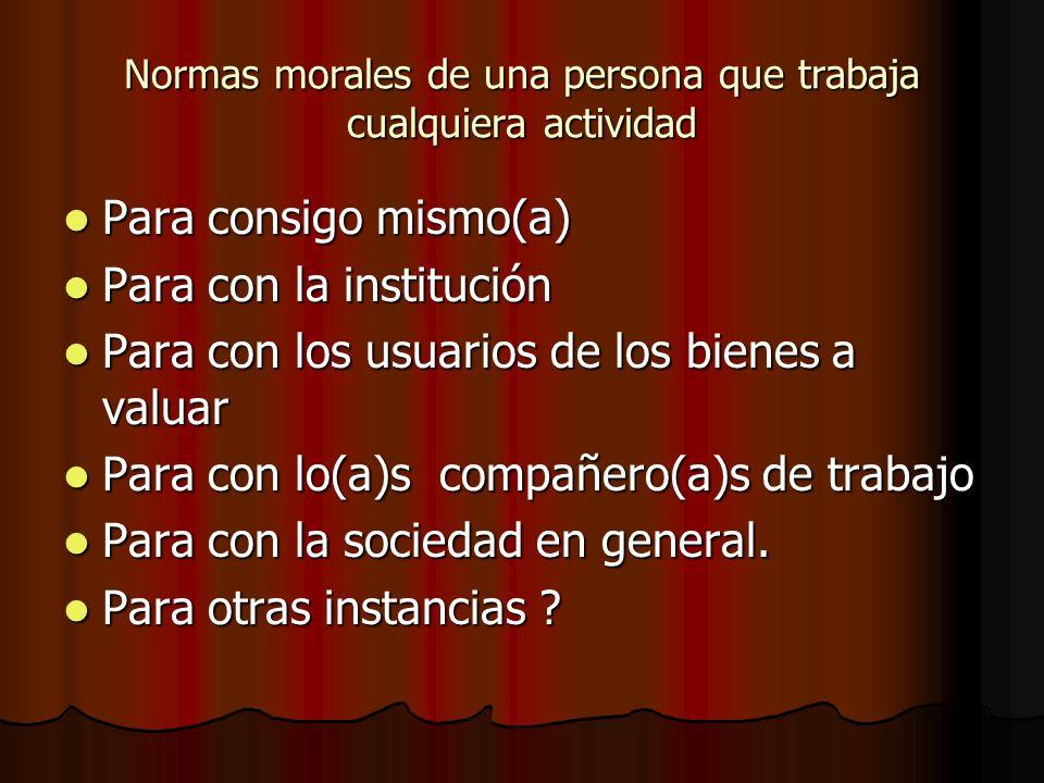 Normas morales de una persona que trabaja cualquiera actividad