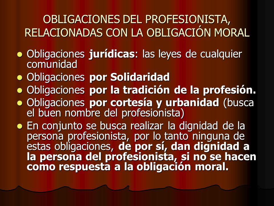 OBLIGACIONES DEL PROFESIONISTA, RELACIONADAS CON LA OBLIGACIÓN MORAL