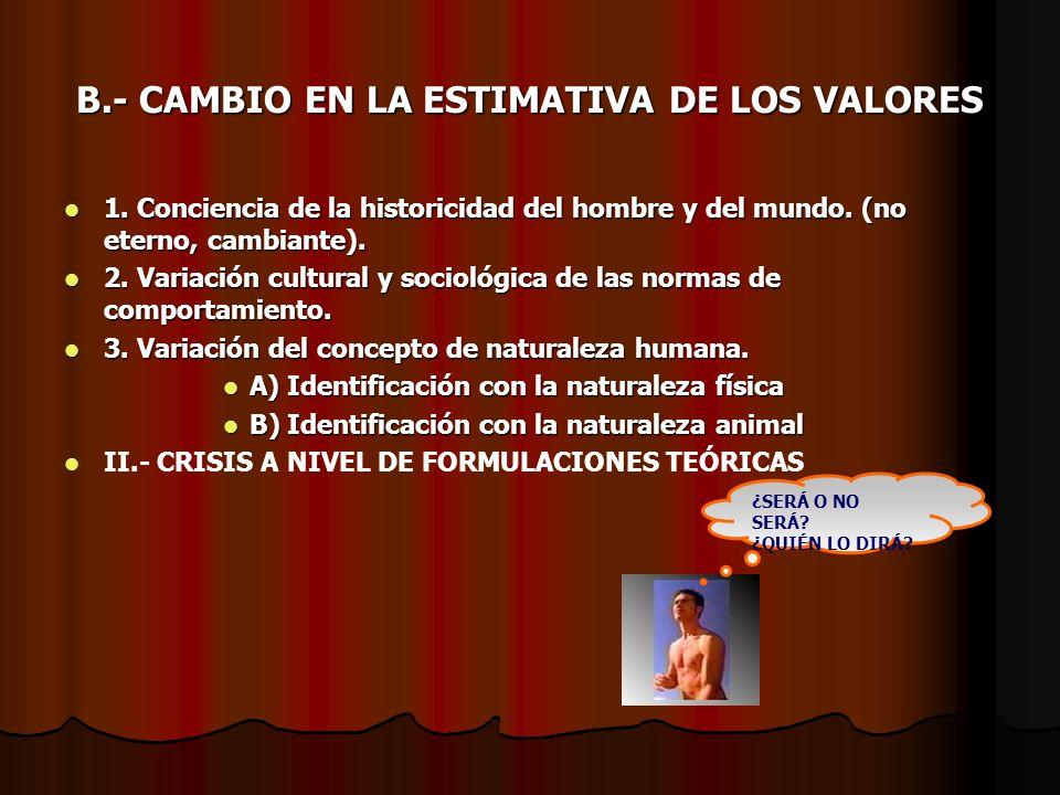 B.- CAMBIO EN LA ESTIMATIVA DE LOS VALORES