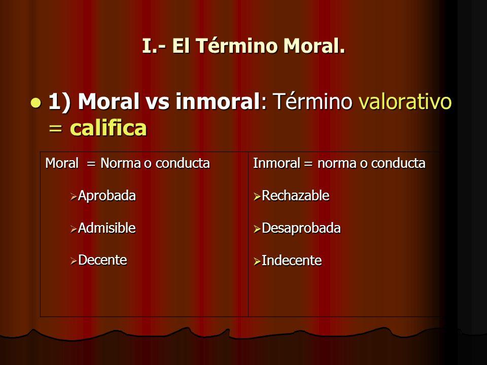 1) Moral vs inmoral: Término valorativo = califica