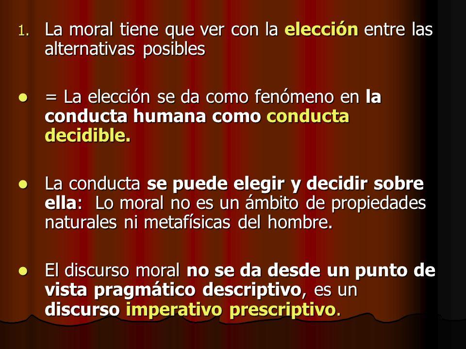 La moral tiene que ver con la elección entre las alternativas posibles