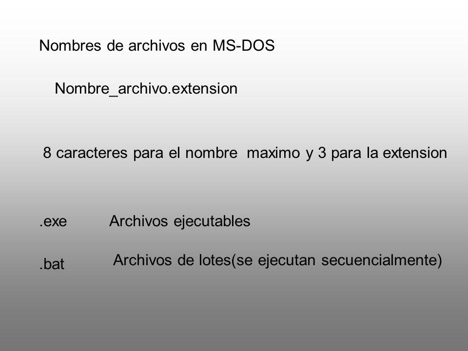 Nombres de archivos en MS-DOS