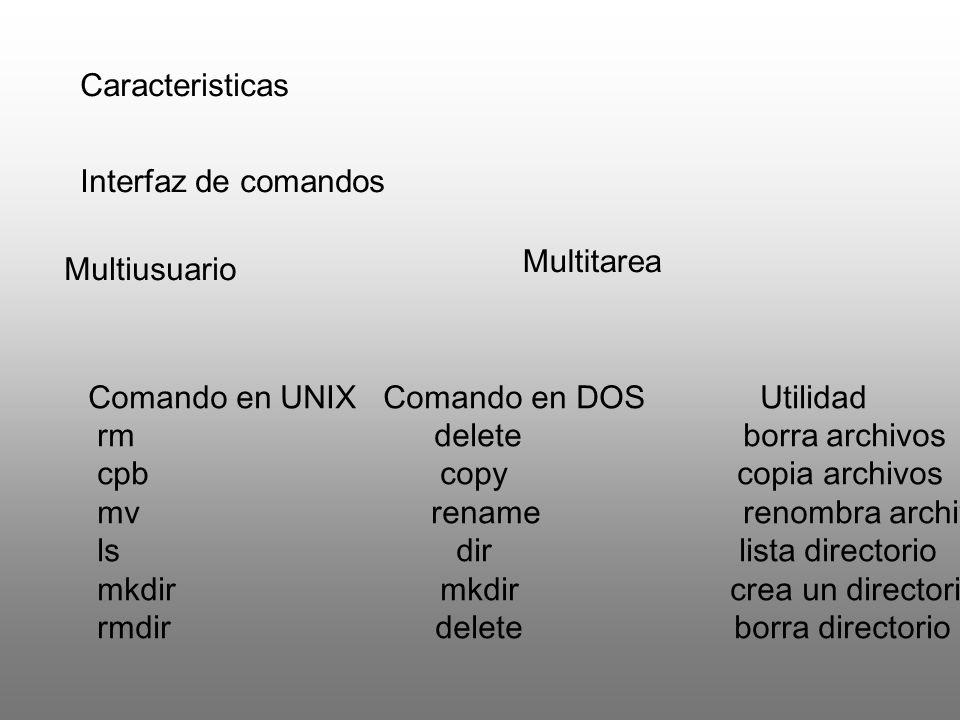 Caracteristicas Interfaz de comandos. Multitarea. Multiusuario. Comando en UNIX Comando en DOS Utilidad.