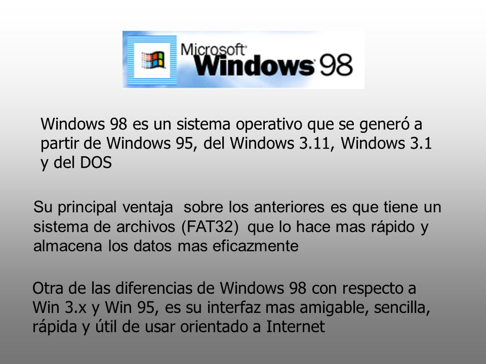 Windows 98 es un sistema operativo que se generó a partir de Windows 95, del Windows 3.11, Windows 3.1 y del DOS