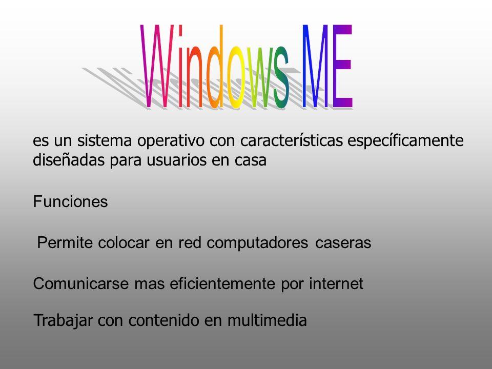 Windows ME es un sistema operativo con características específicamente diseñadas para usuarios en casa.