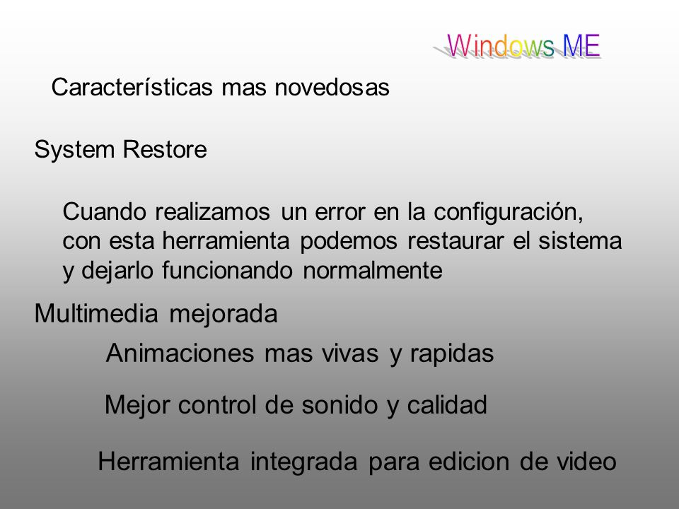 Windows ME Multimedia mejorada Animaciones mas vivas y rapidas