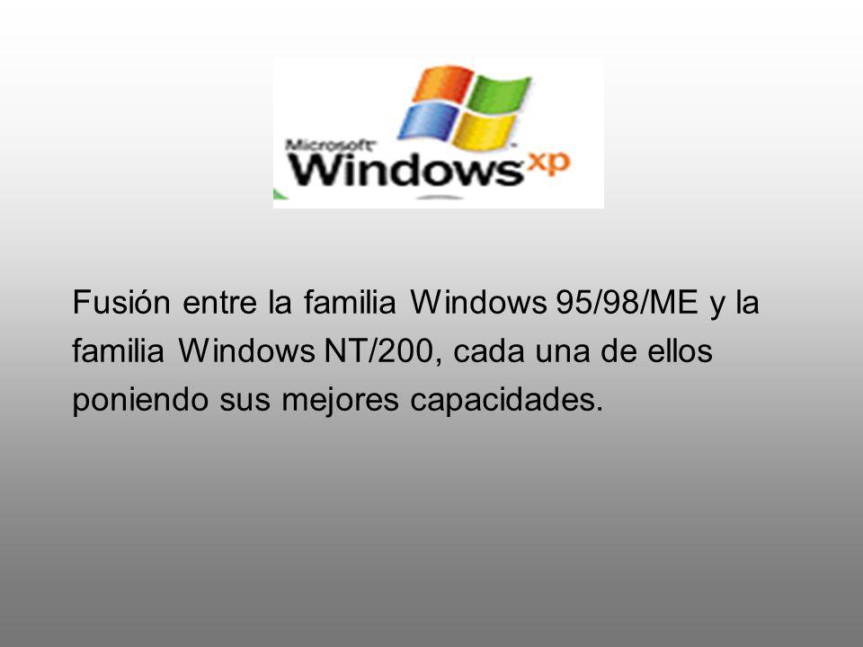 Fusión entre la familia Windows 95/98/ME y la familia Windows NT/200, cada una de ellos poniendo sus mejores capacidades.