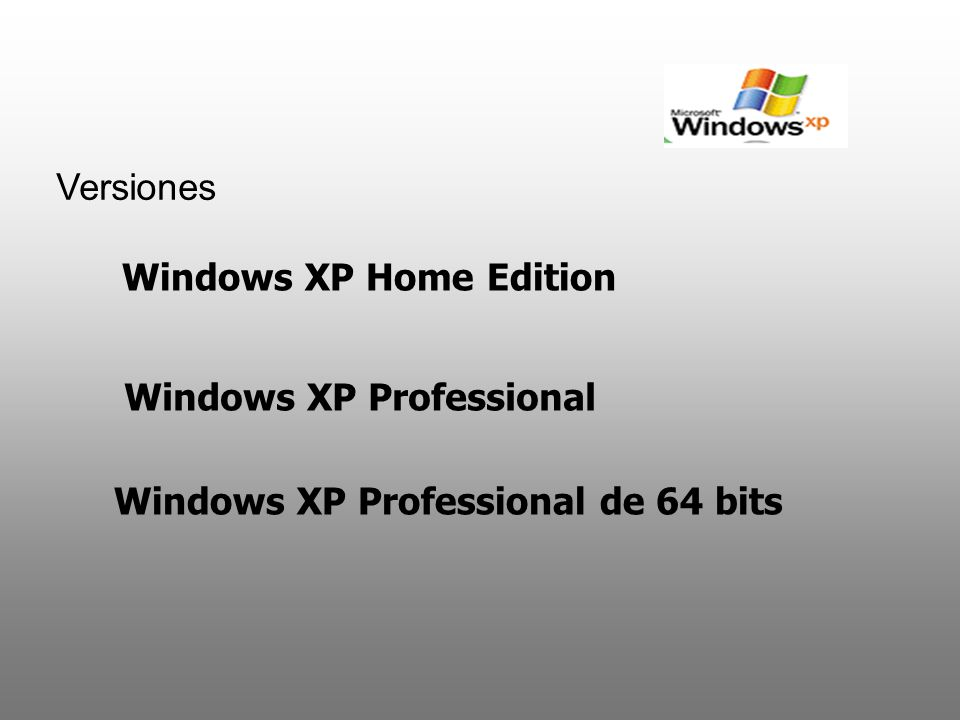 Versiones Windows XP Home Edition Windows XP Professional Windows XP Professional de 64 bits