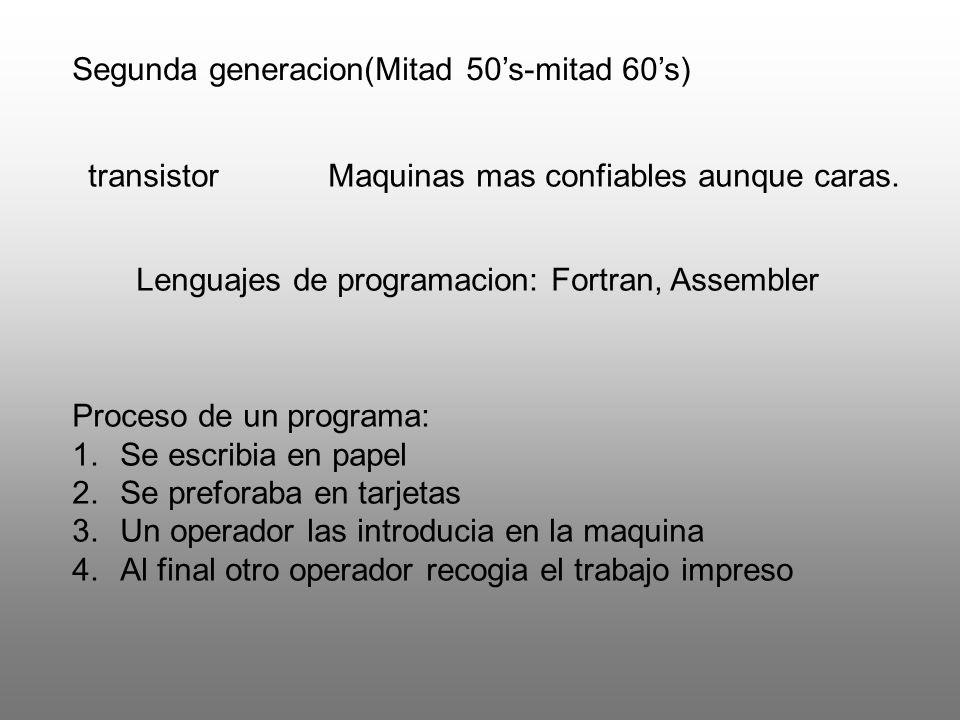 Segunda generacion(Mitad 50's-mitad 60's)