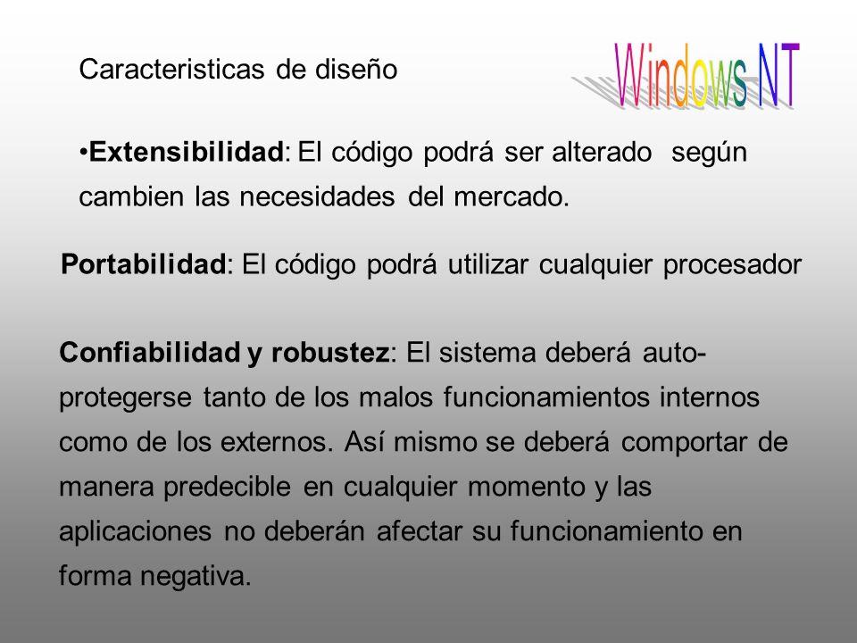 Windows NT Portabilidad: El código podrá utilizar cualquier procesador