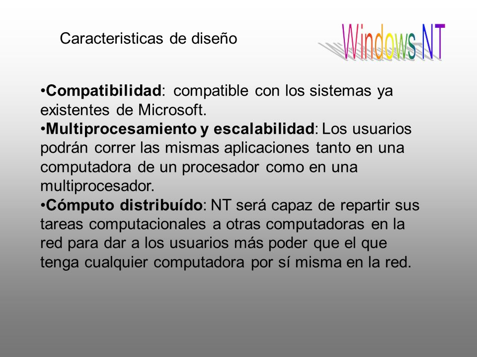 Windows NT Caracteristicas de diseño