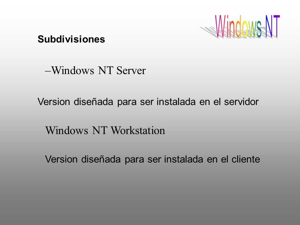 Windows NT Windows NT Server Windows NT Workstation Subdivisiones