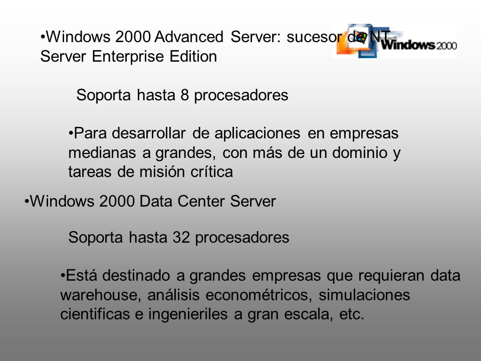 Windows 2000 Advanced Server: sucesor de NT Server Enterprise Edition