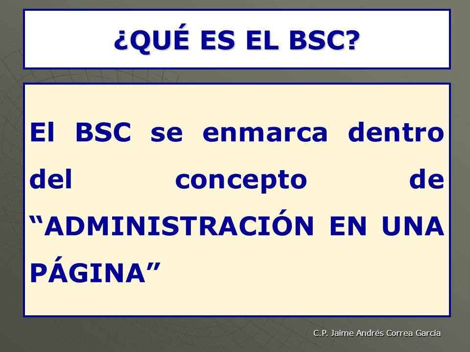 ¿QUÉ ES EL BSC El BSC se enmarca dentro del concepto de ADMINISTRACIÓN EN UNA PÁGINA C.P. Jaime Andrés Correa García.