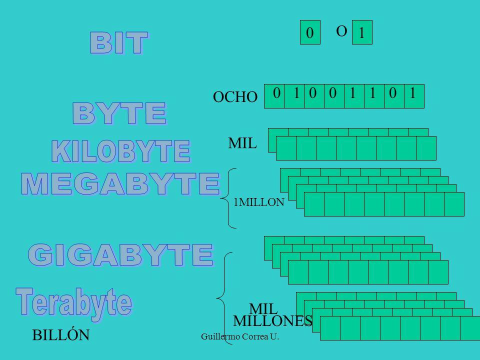 BIT BYTE MEGABYTE GIGABYTE KILOBYTE Terabyte O 1 0 1 0 0 1 1 0 1 OCHO