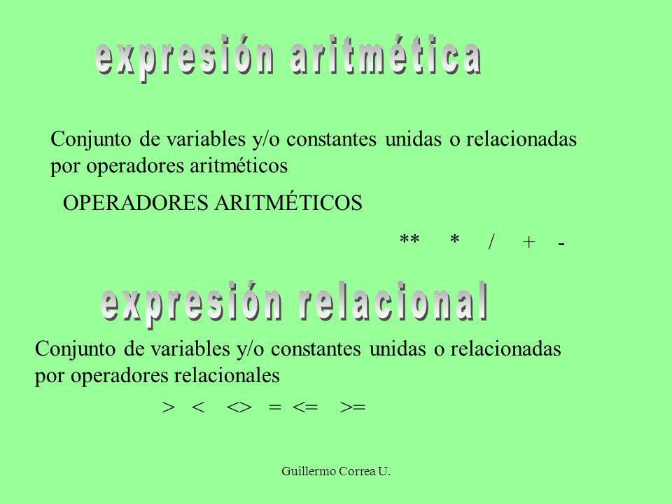 expresión aritmética expresión relacional