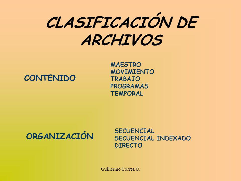 CLASIFICACIÓN DE ARCHIVOS