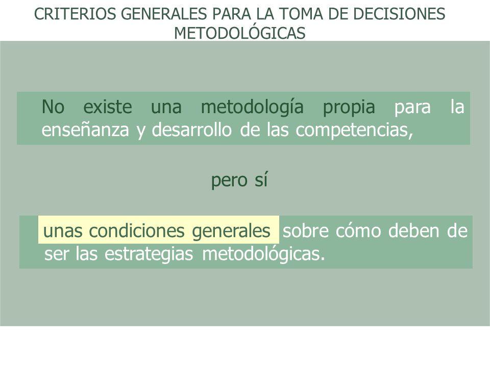 CRITERIOS GENERALES PARA LA TOMA DE DECISIONES METODOLÓGICAS