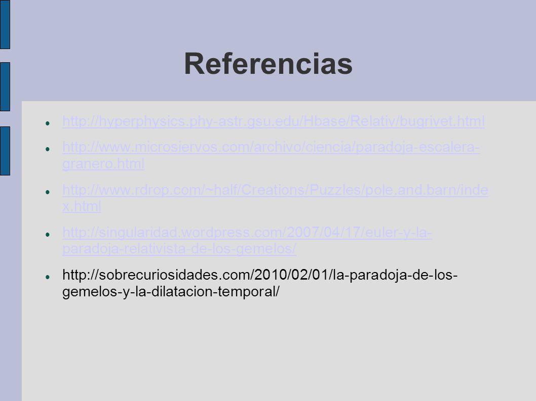 Referencias http://hyperphysics.phy-astr.gsu.edu/Hbase/Relativ/bugrivet.html.
