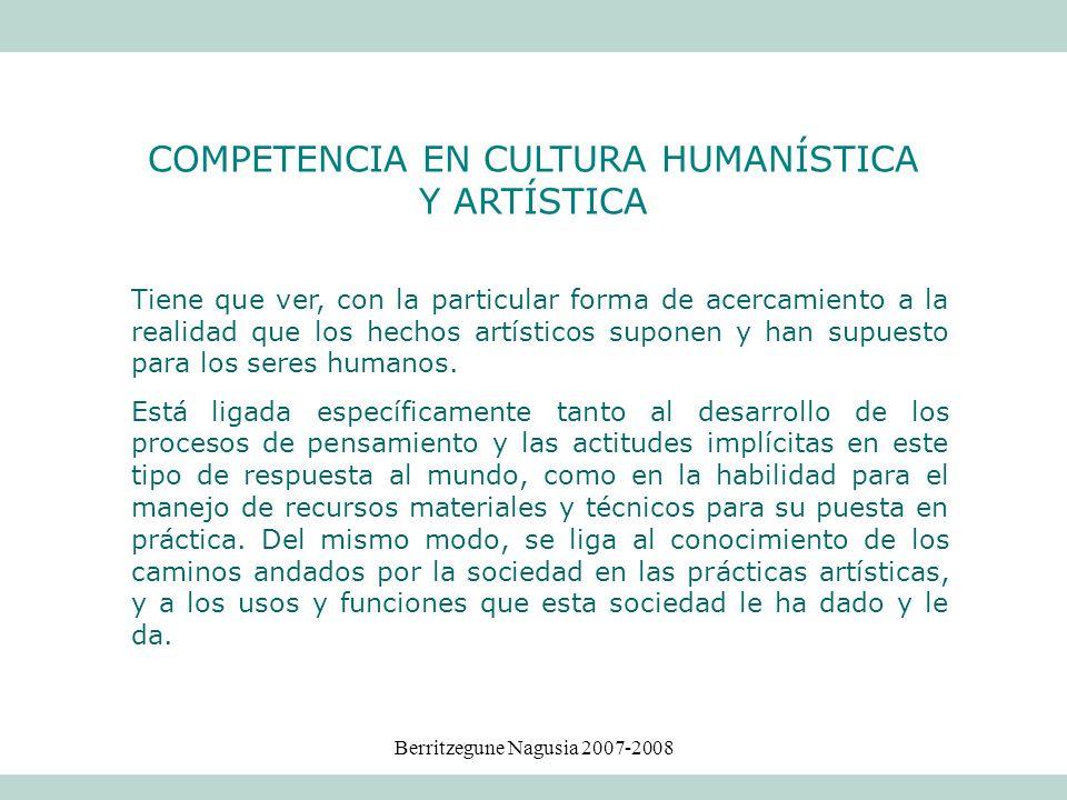 COMPETENCIA EN CULTURA HUMANÍSTICA Y ARTÍSTICA