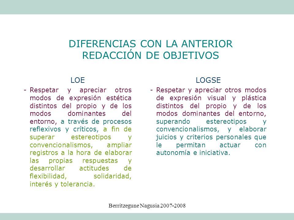 DIFERENCIAS CON LA ANTERIOR REDACCIÓN DE OBJETIVOS