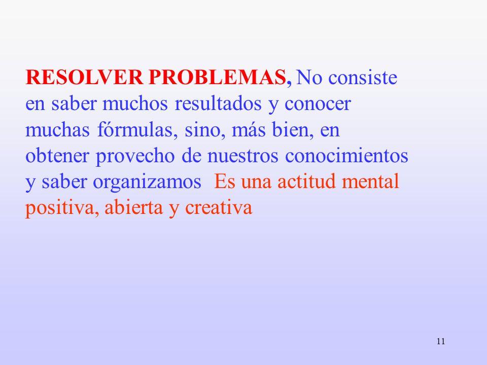 RESOLVER PROBLEMAS, No consiste en saber muchos resultados y conocer muchas fórmulas, sino, más bien, en