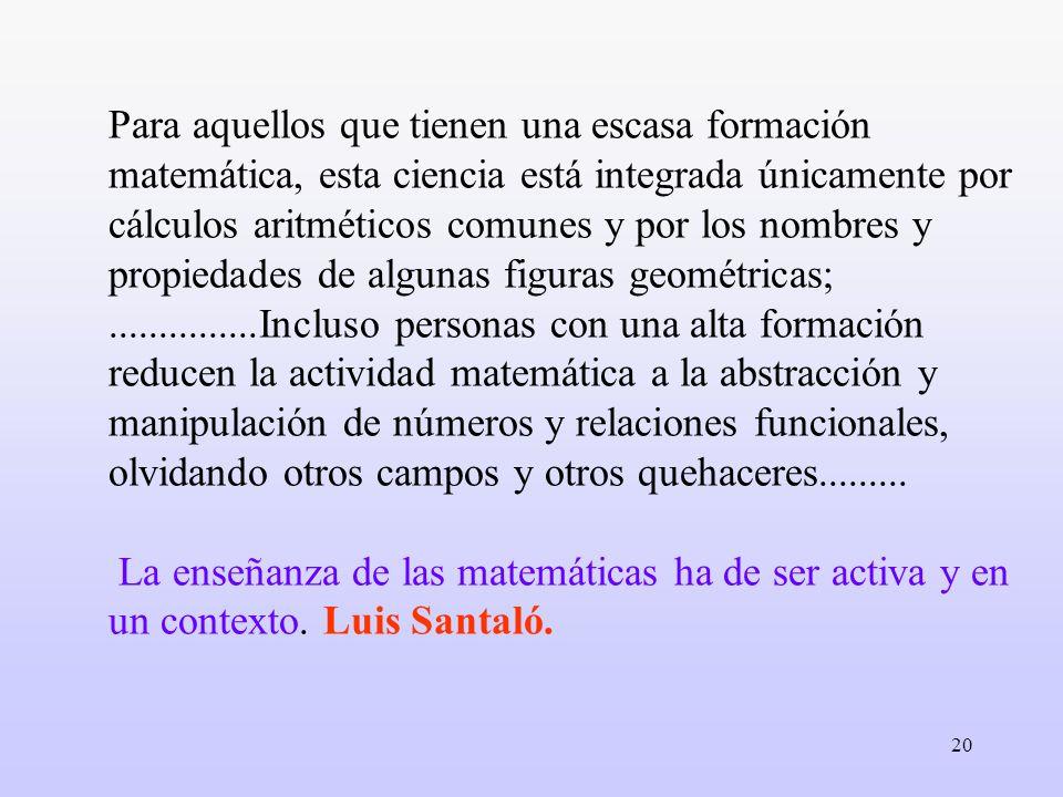 Para aquellos que tienen una escasa formación matemática, esta ciencia está integrada únicamente por cálculos aritméticos comunes y por los nombres y propiedades de algunas figuras geométricas; ...............Incluso personas con una alta formación reducen la actividad matemática a la abstracción y manipulación de números y relaciones funcionales, olvidando otros campos y otros quehaceres.........
