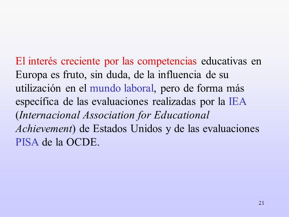 El interés creciente por las competencias educativas en Europa es fruto, sin duda, de la influencia de su utilización en el mundo laboral, pero de forma más específica de las evaluaciones realizadas por la IEA (Internacional Association for Educational Achievement) de Estados Unidos y de las evaluaciones PISA de la OCDE.