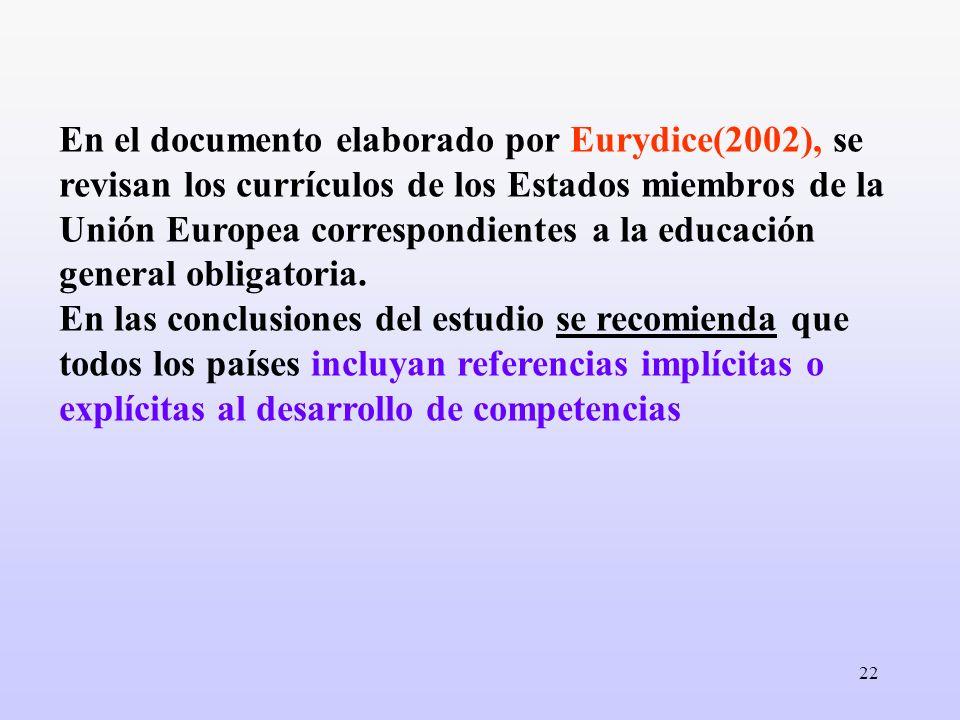 En el documento elaborado por Eurydice(2002), se revisan los currículos de los Estados miembros de la Unión Europea correspondientes a la educación general obligatoria.