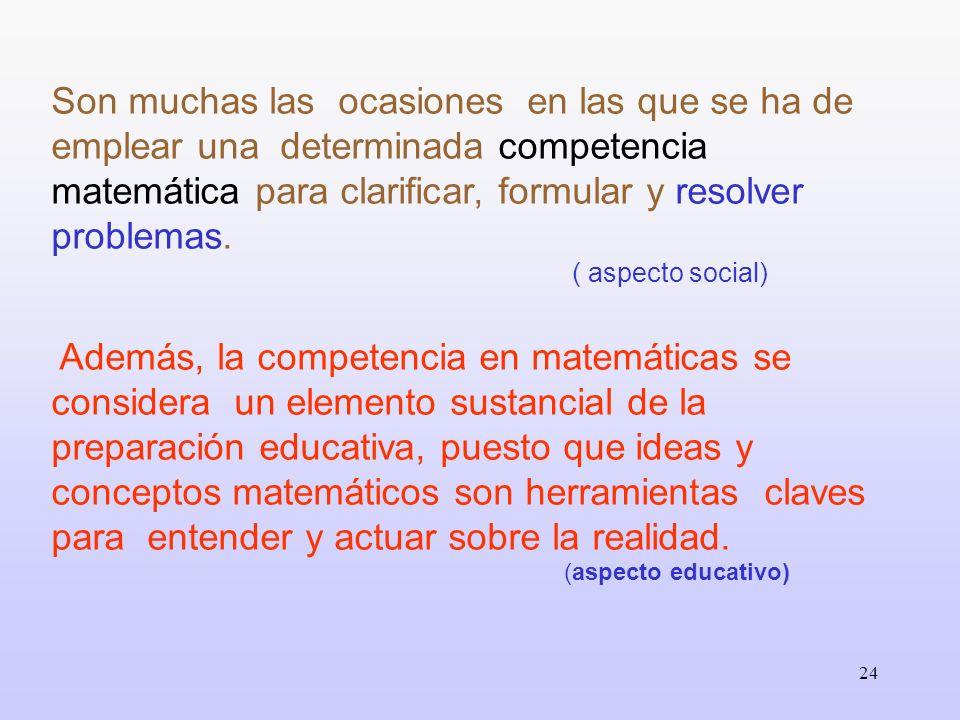Son muchas las ocasiones en las que se ha de emplear una determinada competencia matemática para clarificar, formular y resolver problemas.