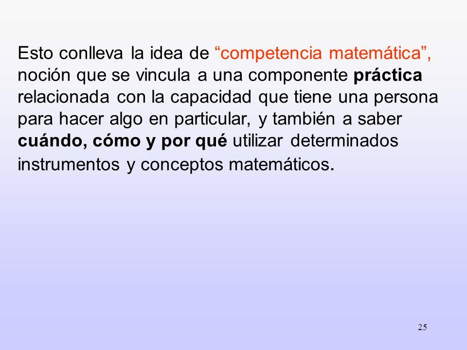 Esto conlleva la idea de competencia matemática , noción que se vincula a una componente práctica relacionada con la capacidad que tiene una persona para hacer algo en particular, y también a saber cuándo, cómo y por qué utilizar determinados instrumentos y conceptos matemáticos.