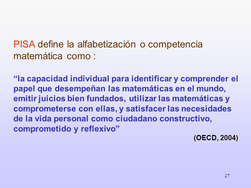 PISA define la alfabetización o competencia matemática como :