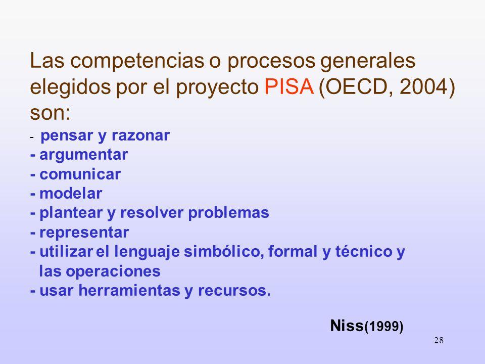 Las competencias o procesos generales elegidos por el proyecto PISA (OECD, 2004) son: - pensar y razonar - argumentar - comunicar - modelar - plantear y resolver problemas - representar - utilizar el lenguaje simbólico, formal y técnico y