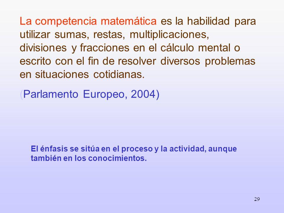 La competencia matemática es la habilidad para utilizar sumas, restas, multiplicaciones, divisiones y fracciones en el cálculo mental o escrito con el fin de resolver diversos problemas en situaciones cotidianas.