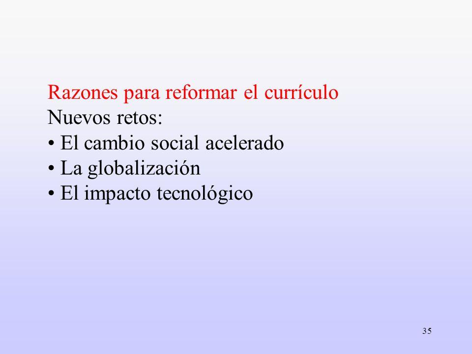 Razones para reformar el currículo