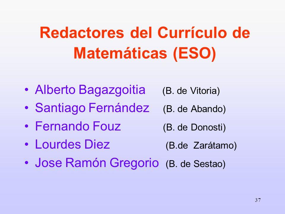 Redactores del Currículo de Matemáticas (ESO)