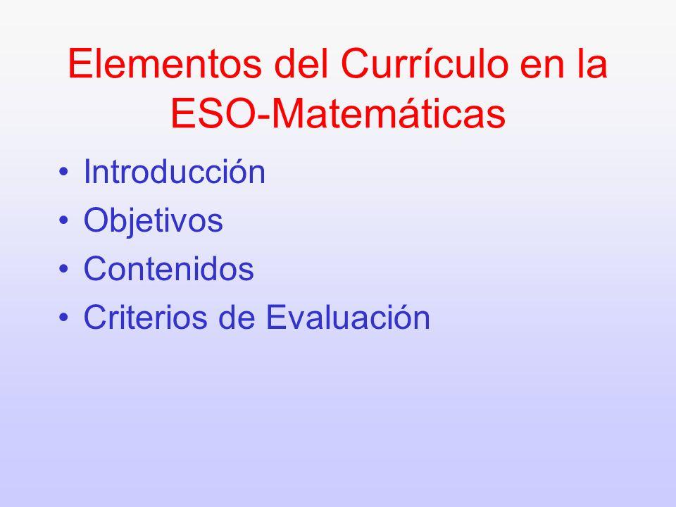 Elementos del Currículo en la ESO-Matemáticas