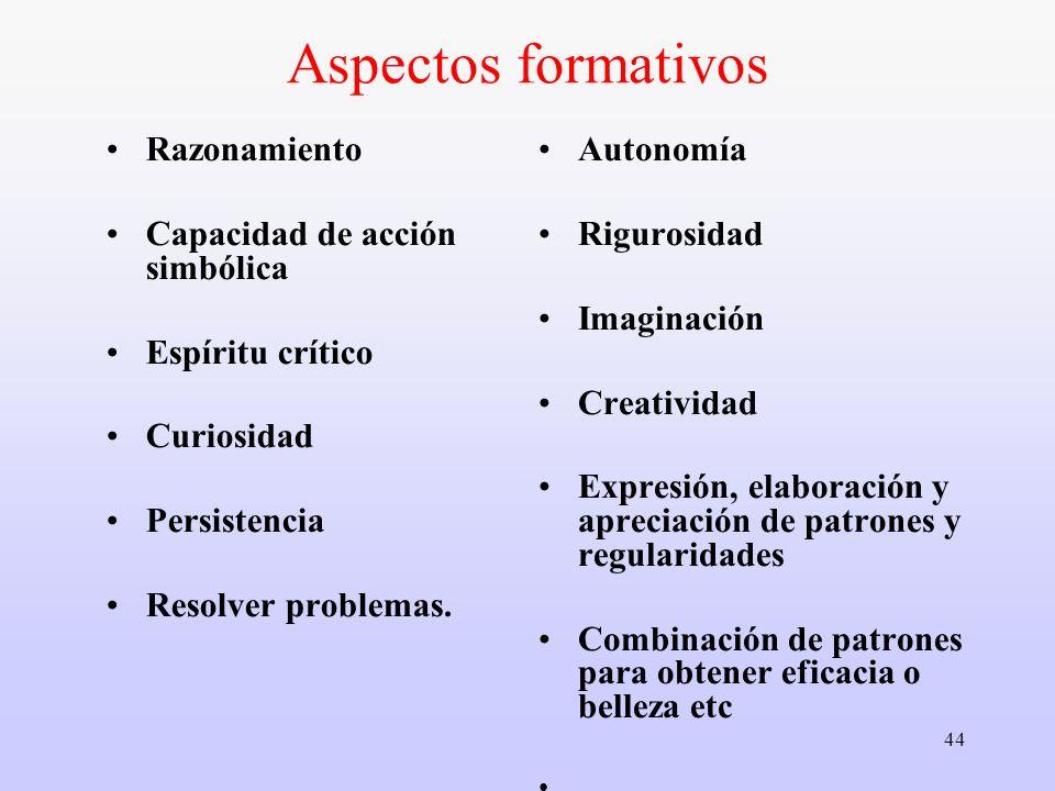 Aspectos formativos Razonamiento Capacidad de acción simbólica