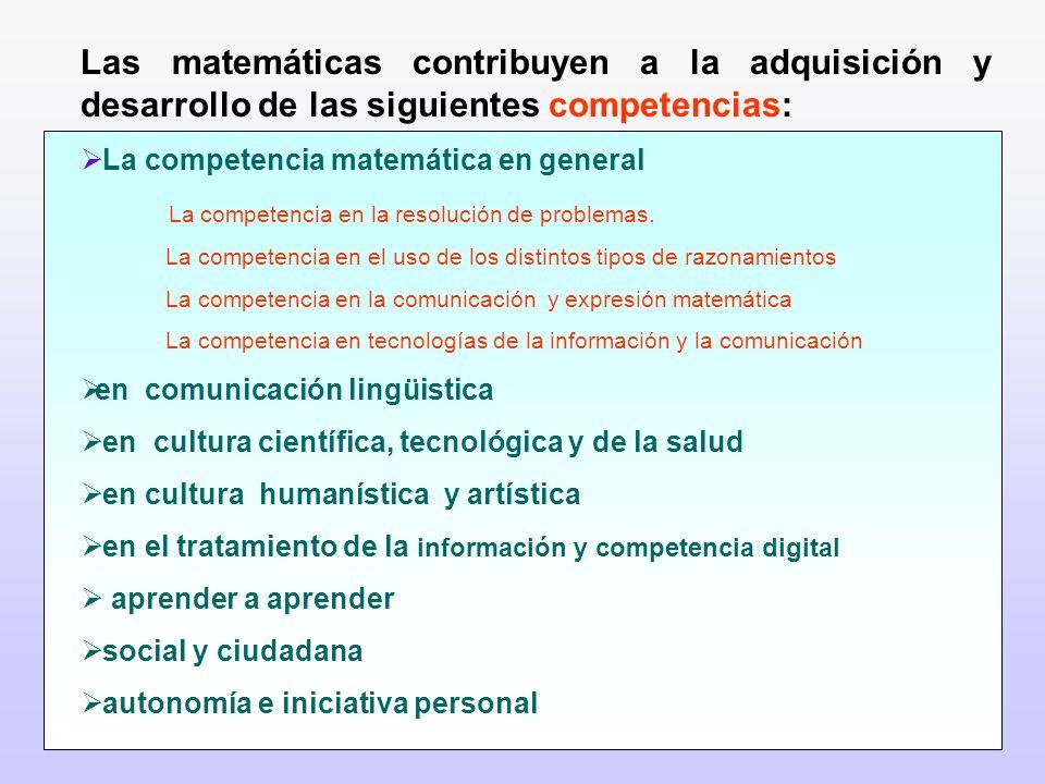 Las matemáticas contribuyen a la adquisición y desarrollo de las siguientes competencias: