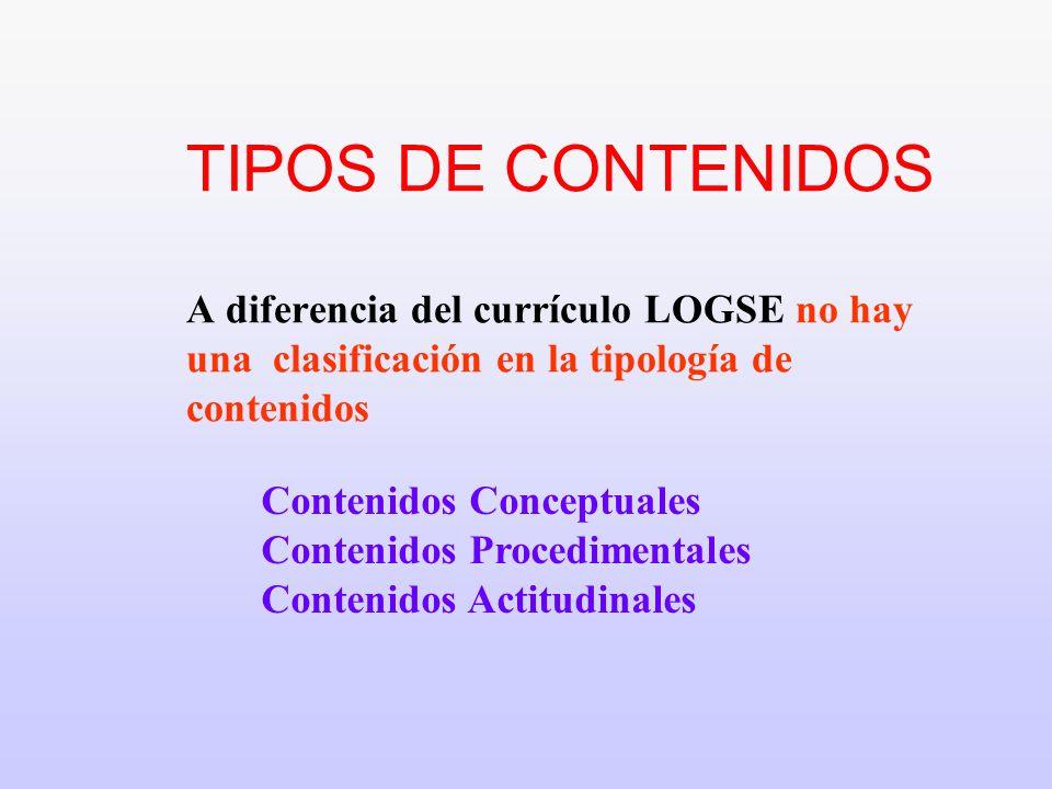TIPOS DE CONTENIDOS A diferencia del currículo LOGSE no hay una clasificación en la tipología de contenidos