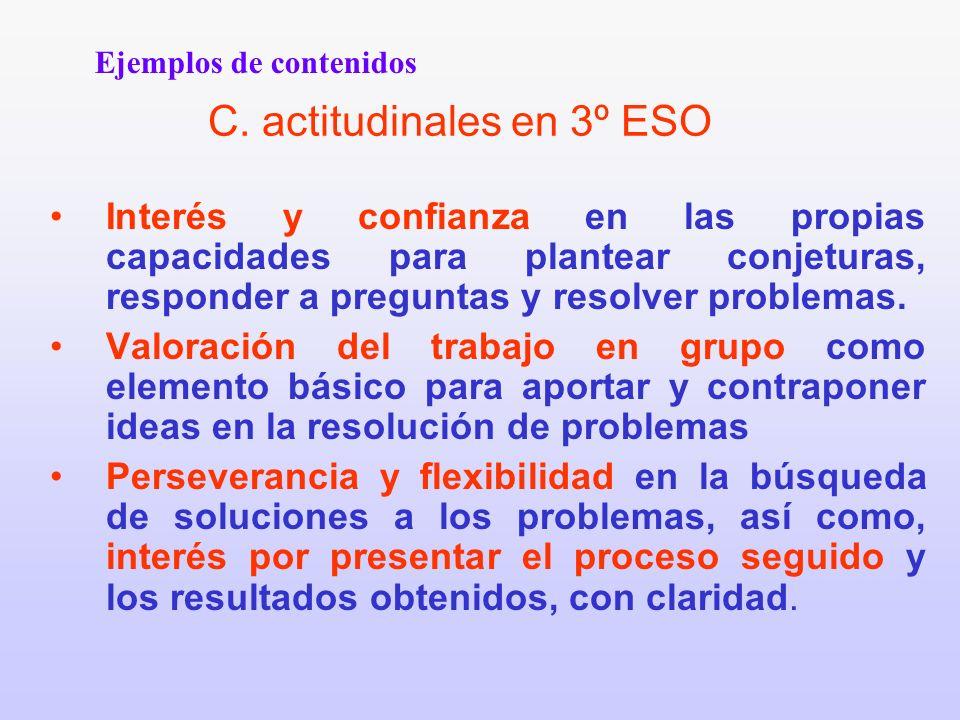 C. actitudinales en 3º ESO