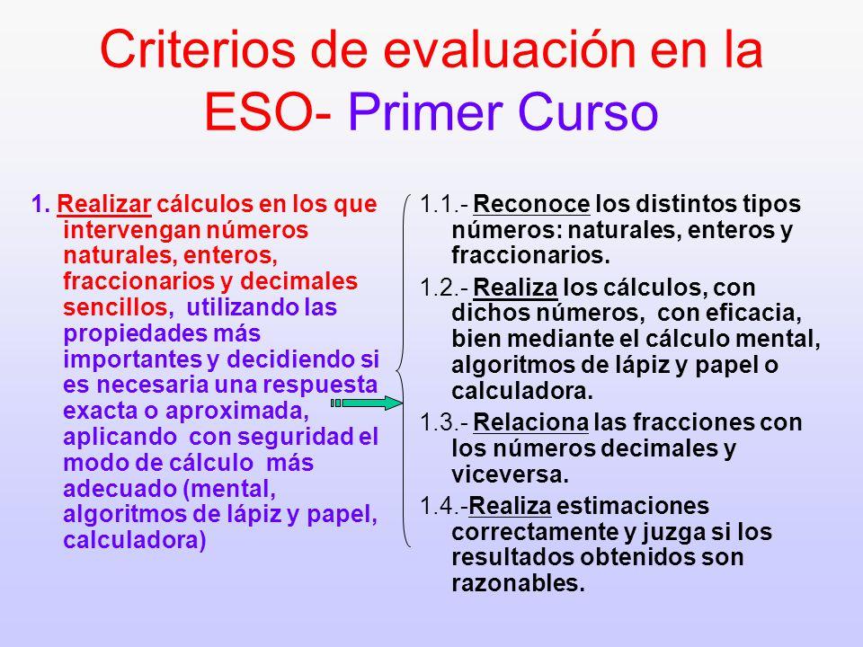 Criterios de evaluación en la ESO- Primer Curso