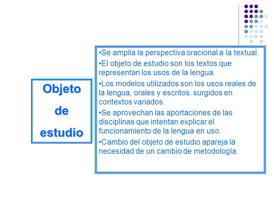 Objeto de estudio Se amplia la perspectiva oracional a la textual.