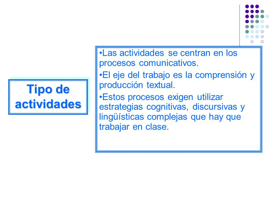 Las actividades se centran en los procesos comunicativos.