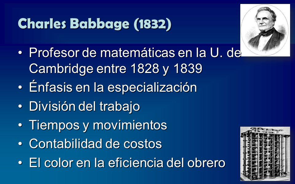 Charles Babbage (1832) Profesor de matemáticas en la U. de Cambridge entre 1828 y 1839. Énfasis en la especialización.