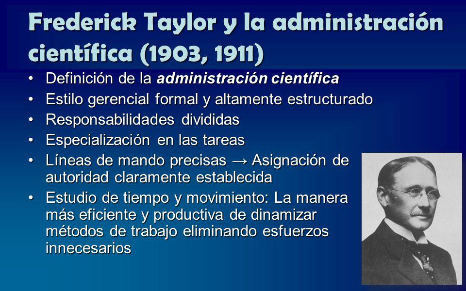 Frederick Taylor y la administración científica (1903, 1911)