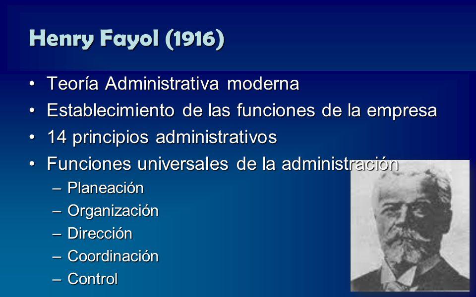 Henry Fayol (1916) Teoría Administrativa moderna