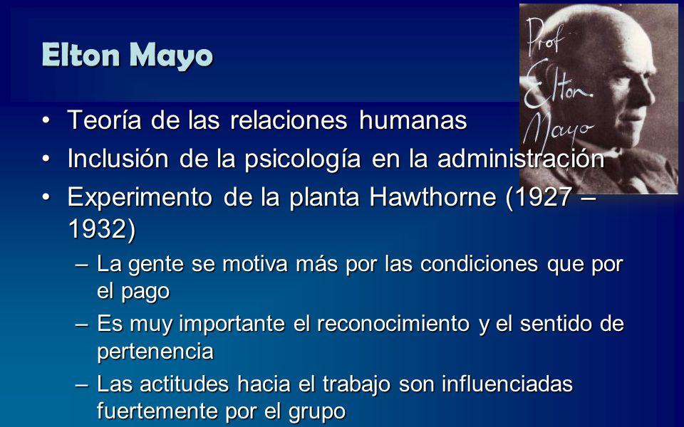 Elton Mayo Teoría de las relaciones humanas