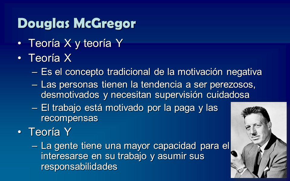 Douglas McGregor Teoría X y teoría Y Teoría X Teoría Y