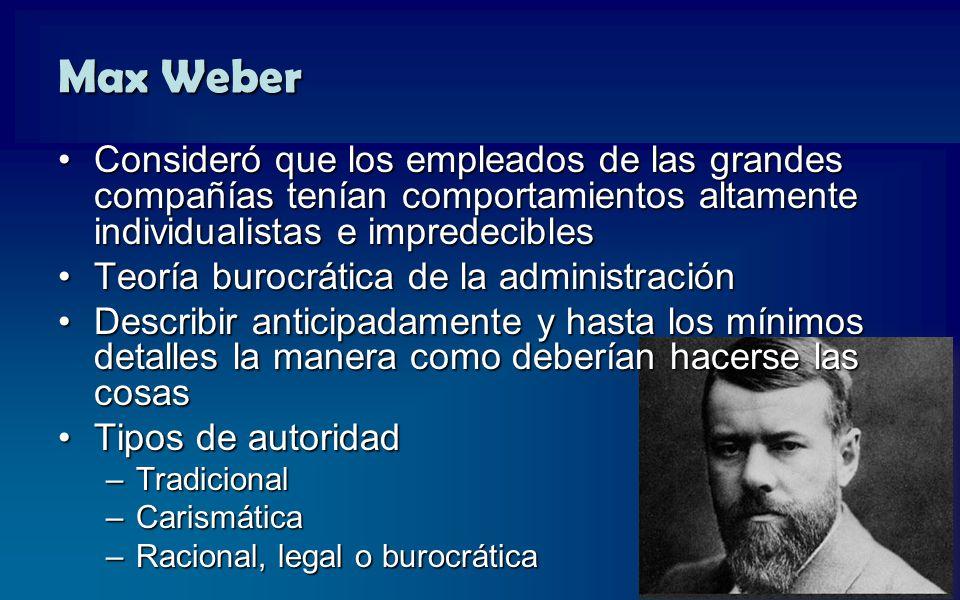 Max Weber Consideró que los empleados de las grandes compañías tenían comportamientos altamente individualistas e impredecibles.